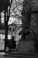 Er sieht es (BW) (Rüdiger Stehn) Tags: geistkämpfer europa kunst statue skulptur mitteleuropa deutschland germany norddeutschland schleswigholstein innenstadt stadtmitte markt bauwerk stadt profankunst kunstwerk bronzestatue plastik barlach ernstbarlach sakralbau kirche altermarkt bronze nikolaikirche denkmalschutz kulturdenkmal 2000er kielaltstadt menschen leute schwarzweis schwarzundweis bw blackwhite blackandwhite strase 2016 2000s monochrom monochrome gebäude canoneos550d kiel