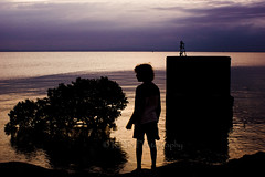 Boy, Bush, and Block (ArdieBeaPhotography) Tags: family boy sunset water thames clouds golden evening kid high still child gulf purple dusk tide peaceful calm firth moana hauraki tikapa