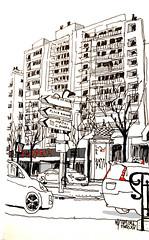 L'hiver, Boucicaut dans le 15e arrondissement , ParisWinter in my neighborhood, Paris (velt.mathieu) Tags: city paris sketch cityscape line croquis