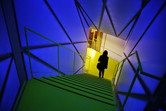 (cherco) Tags: blue light woman color colour green luz girl lines yellow azul stairs composition canon mujer alone chica down 5d lonely solitary solitario escaleras backlighting bajar composicion markiii