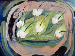 An acrylic painting on masonite of night-blooming Cereus (elizabatz.jensen) Tags: art painting acrylic cereus orchidcactus nightblooming masonite