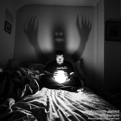 Demon Shadow (KennethJamesUK) Tags: lighting wood uk light shadow portrait people blackandwhite dog white selfportrait black home monster night portraits canon myself lens person photography james photo bed bedroom mare shadows room fear 9 inner led nighttime photograph single demon theme week imagination bedtime nightmare dogwood creature tamron kenneth challenge selfie dlsr week9 lightball singlelight innerdemon 60d 1024mm onelightphotography kennethjames singlelightphotography kennethjamesuk dogwoodphotography dogwoodchallenge