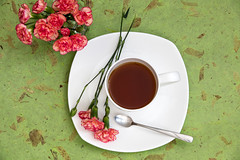 Carnations and Tea (Malisa Nicolau) Tags: pink flowers red plants white color green cup leaves petals colorful soft tea drink softness decoration plate spoon celebration event stamen stems mug bouquet decor setting share mothersday gettogether carnations sip dianthuscaryophyllus