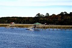 View from the Old McLeod Farmstead railroad bridge - Seabrook SC (Meridith112) Tags: november autumn fall sc water river pier nikon south southcarolina seabrook lowcountry carolinas 2015 nikon2485 mcleodfarm nikond610