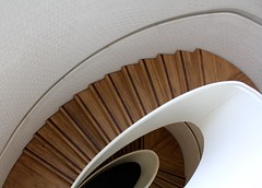 NSG (No Great Hurry) Tags: wood white london art stairs canon exposure flickr steps indoor stairwell explore tiles staircase 1855mm elegant minimalism curve amateur damienhirst tilework leadinglines newportstreet explored carusostjohn inexplore robinbarr nogreathurry robinmauricebarr