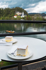 Cremeschnitte (E-klasse2010) Tags: lake church nature cake forest table boat cafe view terrace cream plate fork slovenia bled slovenija cremeschnitte krempita