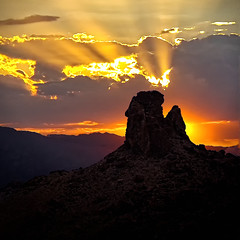 Mountain Pass Howdy Hand (dlbinnie) Tags: mountain clouds landscape twilight hand desert oranges sunrays howdy