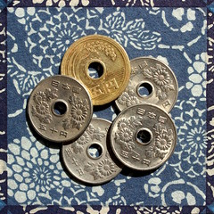 one of these things is not like the other (danna  curious tangles) Tags: money japan japanese coin 5 five 50 yen fifty oneofthesethings