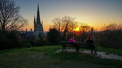 Watching the sun go down (TanzPanorama) Tags: park light sunset sunlight london church zeiss bench europe flickr greenwich wideangle explore april fe1635 fe1635mmf4zaoss variotessartfe41635 variotessartfe1635mmf4zaoss sonya7ii ilce7m2 tanzpanorama