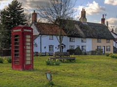 Homersfield (Explored) (Ian Gedge) Tags: uk england green english suffolk spring village phone box britain daffodils phonebox eastanglia cottages homersfield