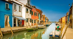 Burano (simonvaux1) Tags: blue venice sky italy holiday simon water boats outside happy nikon alone quiet locals bright lace peaceful sunny full frame colourful fx murano making burano italians waterways d800 cottages vaux
