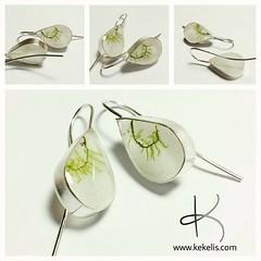Wedding earrings  #wedding #earrings #handmade #jewelry #sterlingsilver #natural #moss (Kejoyas) Tags: wedding moss natural handmade jewelry earrings sterlingsilver