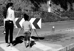 Sidewalk forbids the pedestrians (patrick_milan) Tags: street people blackandwhite bw white black monochrome noir noiretblanc nb rue blanc personne streetview gens