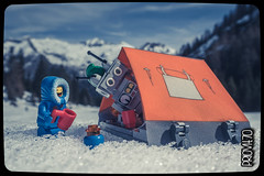 Hot cocoa for two (Priovit70) Tags: camp snow mountains lego tent benny hotcocoa mrrobot minifigures olympuspenepl7