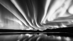 B&W Landscape at night (Kolbein) Tags: mountain lake norway night landscapes nightscape natur astro aurora northernlights auroraborealis nordlys