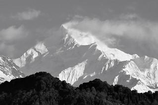 Mt Kanchenjunga monochrome.