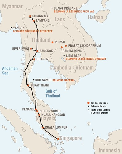 Eastern & Oriental Express route map