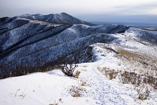 Mt. Nishibetsudake view from outer ridge of Lake Mashu