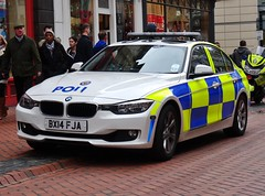 West Midlands Police BMW 325d Driver Training Unit (LD43) BX14 FJA, Birmingham City Centre. (Vinnyman1) Tags: city uk england rescue west training birmingham britain centre united great police kingdom gb bmw learning driver service emergency services wmp midlands unit 999 developement 325d fja ld43 bx14