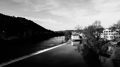 IMG_2873 (dcdnc) Tags: bridge building art water monochrome wall architecture modern stairs contrast landscape lot pont cahors