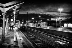 gi-rkw-160111-0023-sw (Rolf K. Wegst) Tags: light blackandwhite lines deutschland abend hessen wolken railway bahnhof giessen bahn lightandshadow gleis bahngleise