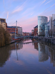Morning Reflections LGG4 (JimCosseyPhotography) Tags: camera morning winter red sky colour architecture clouds sunrise reflections river bristol landscapes canal amazing raw g4 cityscape phone lg manual avon offices barges whispy