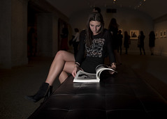 beyond beauty (Blinkofanaye) Tags: light girl night bench book washingtondc photo legs boots skirt sofa brunette strobe naam irvingpenn