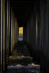 Golden Corridor (Scott Farrell Photo) Tags: sunset seascape pier waves perspective calif pacificocean orangecounty huntingtonbeach surfcity