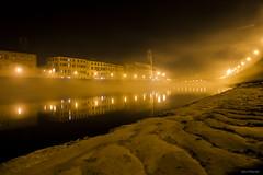 33#365 Nebulosa (Fabio75Photo) Tags: city windows yellow fog lights torre fiume serata ponte pisa giallo luci arno nebbia acqua riflessi orologio notturna sera citt sabbia finestre spalletta