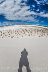 Shadow Selfie in White Sands National Monument (Lee Rentz) Tags: shadow usa newmexico southwest nature america lens landscape sand desert whitesands dunes dune fisheye northamerica gypsum selfie whitesandsnationalmonument tularosabasin chihuahuandesert dunesdrive