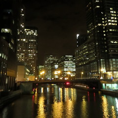 Looking south on the South Branch of the Chicago River--Explored (yooperann) Tags: light chicago night reflections river branch south