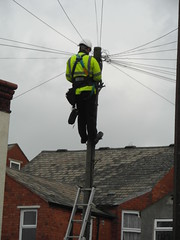 Man at work (bryanilona) Tags: dudley ladder engineer telephonewires westmidlands britishtelecom telepphonepole