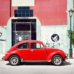 Volkswagen Garbus (Mariusz uczak PL) Tags: old red summer 6x6 car rolleiflex mediumformat volkswagen stary zakynthos czerwony samochd lato kodakektar garbus redniformat