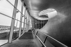 (4) The only way is up: Central station in B&W, Arnhem (Simon van Ooijen) Tags: city blackandwhite bw white abstract black holland window netherlands glass monochrome beautiful dutch station architecture stairs train handle design nikon cityscape angle zwartwit arnhem curves central wide nederland sigma railway stunning handrail railing 1020 zwart wit trap glas uit raam centraal gelderland leuning monochroom groothoek ooijen guelders