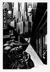 """Bread Line, New York,"" Wood Engraving, 1932 // by Clare Leighton (mike catalonian) Tags: bw graphicart 1932 1930s relief printing woodengraving clareleighton"