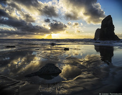 Cannon Beach Reflections (mjardeen) Tags: park sunset sky sunlight west beach water clouds oregon reflections landscape outdoors coast daylight twilight rocks or sony tide 28mm salt pacificocean cannon f2 seastack 282 a7ii tolovana nikcolorefex a7m2