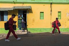 School Kids (Ravikanth K) Tags: morning school windows red people house green yellow kids walking children outdoors uniform outdoor southern tip cape ready getting kanyakumari kanniyakumari comorin 500px nikond750