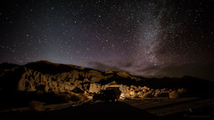 Starry Camp (Muzzlehatch) Tags: park camping red rock night way long desert jeep state canyon campfire badlands milky rokinon14mmf28