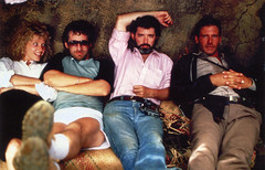 Kate Capshaw, Steven Spielberg, George Lucas and Harrison Ford during filming of Indiana Jones and the Temple of Doom (Tom Simpson) Tags: film vintage relax harrisonford relaxing chillin chilling behindthescenes chill indianajones georgelucas stevenspielberg templeofdoom katecapshaw thetempleofdoom