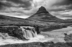 Kirkjufell B&W (csnyder103) Tags: bw waterfall iceland kirkjufell snaefellsness canon1dmkiii kirkjufellfoss tokina1628f28 fotodioxwonderpana