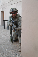 A U.S. Army Soldier assigned to 4th Battalion, 23rd Infantry Regiment, 2nd Brigade Combat Team, 2nd Infantry Division, provides security during Decisive Action Rotation 16-03 at Fort Irwin, Calif., Jan. 28, 2016. (U.S. Army Photo by Spc. Austin Riel, Oper (Operations Group, National Training Center) Tags: california usa ntc fortirwin 2ndinfantrydivision 23rdinfantryregiment 2ndbrigadecombatteam 4thbattalion majovedesert spcaustinmriel