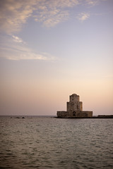 Tower (Sunsword & Moonsabre) Tags: old light sea sky tower castle water clouds twilight nikon europe day outdoor dusk greece balkans nikkor 50mmf14 balkan ionian peloponnese d700 nikonfx