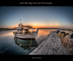 And the days are not full enough... (Nikos O'Nick) Tags: sunset sea sky sun seascape water island golden pier boat nikon tripod nick hellas nikos days full fisheye greece nicholas hour ezra 8mm pound enough hdr manfrotto  lemnos photomatix  samyang    onick 055xprob d300s    kotsinas kotanidis