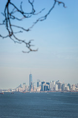 Manhattan Skyline (Erin Cadigan Photography) Tags: city nyc newyorkcity urban newyork building tree tourism water vertical skyline architecture river island harbor daylight branch cityscape view manhattan worldtradecenter borough daytime wtc hudson statenisland freedomtower fortwadsworth