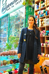 Irini is modeling her new jacket! (sifis) Tags: wool shopping nikon knitting coat knit merino athens greece jacket handknitting 2470 sakalak d700