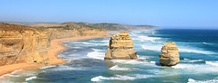 Panorama with the Two Apostles (Julia_Kul) Tags: ocean road park travel blue sunset sea vacation sky panorama white tourism beach nature water beautiful beauty rock stone port spectacular landscape coast amazing sand view natural outdoor great peaceful australia melbourne scene victoria panoramic cliffs erosion coastal national shore coastline unusual 12 campbell 12apostles twelve apostles stacks
