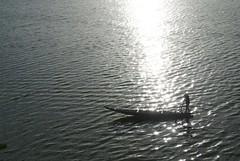 Vietnamese Boatman (Tykemeister07@yahoo.co.uk) Tags: water silhouette river boat vietnamese vietnam boatman