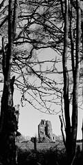 It Kinda Fell Down A bit... (amcgdesigns) Tags: trees blackandwhite tower dark landscape mono scotland ruin local lightroom forres lightroom6 eos7dmk2 andrewmcgavin