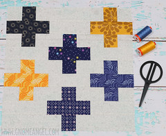 gnomeangel-crossed-do-good-stitches-february-2016 (gnomeangel) Tags: blue yellow modern quilt navy quilting patchwork gnomeangel