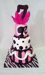 Barbie Birthday Cake (tasteoflovebakery) Tags: birthday pink white black cake kids stripes feathers barbie polka dots